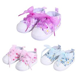 Toddler Girls Canvas Shoes Australia - Baby Boy Girls Shoes Canvas Princess Sneakers Floral Printed Net Antislip Children Toddler Walkers Shoes Baby