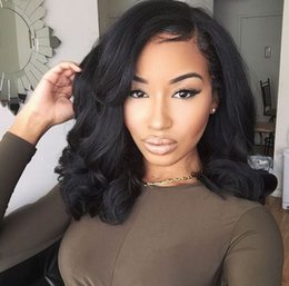 $enCountryForm.capitalKeyWord Australia - Human Hair Bob Wigs with Baby Hair Pre Plucked Peruvian Wavy Short Lace Front Wigs for Black Women 130% 150% Density Ping