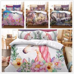 Oil paint set hOrses online shopping - 2018 oil painting horse D bedding set flower US AU EU doubel size duvet cover set pillow European bed bedclothes