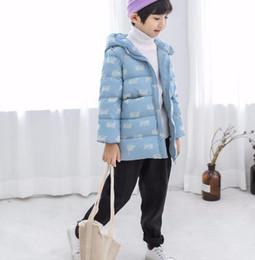 Venta al por mayor de 2018 invierno nueva ropa para niños chaqueta abajo niños y niñas con pato blanco abajo ribete patrón de dibujos animados