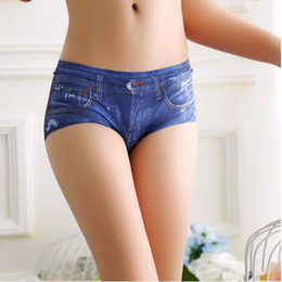 Wholesale 3D dick denim digital printed underwear for women A pair of briefs made of seamless ice wire