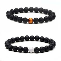$enCountryForm.capitalKeyWord NZ - 8mm Natural Black Lava Stone Beads Tiger Eye Turquoise Bracelet DIY Essential Oil Diffuser Bracelet for women men jewelry