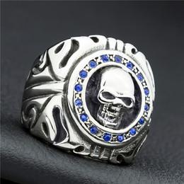 $enCountryForm.capitalKeyWord Australia - Blue Crystal Skull Punk Men Ring Stainless Steel biker Hip Hop Rock Male Personality halloween party supplies Vogue Jewelry