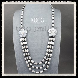 Black pearls jewellery online shopping - Natural Pearls Jewellery White Freshwater Pearl Necklace Black Crystal Beads Nice Shell Flower Jewelry New A003