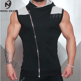 $enCountryForm.capitalKeyWord Canada - 2018 men's tight muscle gyms casual sleeveless vest men breathable fitness Sweatshirt Hooded cotton Vest