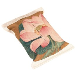 Chinese  Facial Tissue Box Portable Napkin Box Cotton Linen for Car Lotus Pattern 9.4x6.6in pink green manufacturers