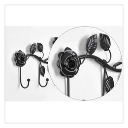 $enCountryForm.capitalKeyWord Australia - Black White Garden Floral Pattern Wall Mounted 5 Coat Hook   Clothing Rack   Key Holder   Hat Hanger Hot Sale