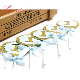 Baby First 10PCS Lot 1 Year Birthday Party Cake Topper Decoration 1st Cupcake Toppers Beautiful Paperboard Crafts Discount