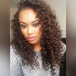 $enCountryForm.capitalKeyWord Australia - Pretty sexy new unprocessed raw virgin remy human hair long natural color afro curly full lace cap wig for women