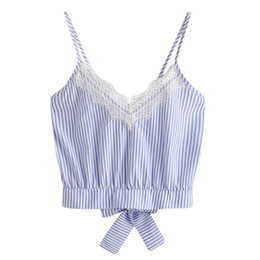 4fc4a17bfea19 good quality Summer Blue Stripe Tank Tops For Women s Self Tie Back V Neck Crop  Tops Cami Camisole Female Camisas Mujer  0805