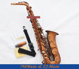 Discount e saxophone - Professional Matte Coffee Alto Saxophone Sax High F# Abalone Shell Key With Case