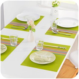 Kitchen Place Mats Australia - 1PC 30*45cm Seven Colorful Dinner Placemats PVC Place Table Mats Tableware Dinnerware Kitchen Dining Bar Accessories Tools