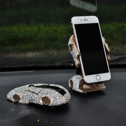 """Discount shaped mobile phone holders - Bling Bling Sportscar Shape Car Mobile Phone Holder with Crystals Dashboard Decoration Ornament GPS Stand for 4"""" to"""