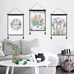 $enCountryForm.capitalKeyWord NZ - Northern European Printed Flower Tapestry Painting With Tassels Cartoon Elk Drawing Fabrics Art Wall Decoration