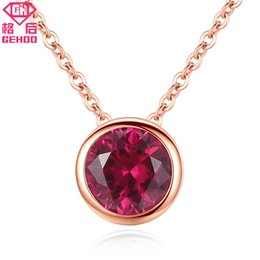 necklaces pendants Australia - GEHOO Simple Red Ruby Pendant Solid 925 Sterling Silver Collar Choker Women Wedding Fine Jewelry Rose Gold Chain Charm Necklaces Y1892806