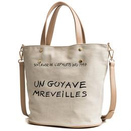 Discount tote bucket bag drawstring - Canvas bags letter totes sport bags letter print fashion western women bags khaki bucket shoulder bag