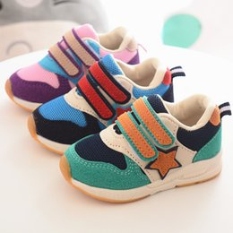 Wholesale Canvas High Shoes Australia - New 2018 Patchwork canvas Cool baby sneakers Hook&Loop sports running baby girls boys shoes high quality casual shoes