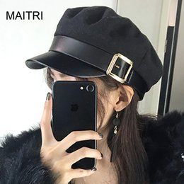 48e33615f7e MAITRI 2019 New Solid Visor Navy Beret Hat Fashion Leather Brim Wool Winter Hats  For Women Men Flat Cap Boina Feminina Baret