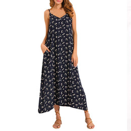 91652d6868b70 Summer Strappy Dress Women V Neck Pocket Loose Backless Long Beach Dresses  Female Sexy Sleeveless Halter Sundress