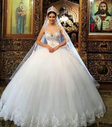 Queens Wedding Gowns Australia - 2018 Royal Ball Gown Wedding Dresses Sheer  Neck Sleeveless Appliques Beaded 5906ba6c10f8