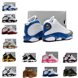 Gray Basketball Shoes Canada - 13s kids basketball shoes Flint blue gray white 13 bred DMP boys and girls children sneakers footwears free shipping size us11c-3y