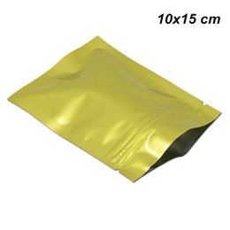 $enCountryForm.capitalKeyWord NZ - 100pcs Lot 10x15cm Gold Aluminum Foil Self Sealed Zipper Packaging Bags for Snack Self Adhesive Mylar Foil Reusable Spices Tea Packing Pouch