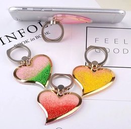 Wholesale Rotating Liquid Finger Grip Bling Glitter Heart Universal Cell Phone Luxury Ring Hook Holder Stand For iphone