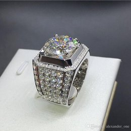 China 90% OFF Luxury Men jewelry Really 925 Sterling Silver 189pcs CZ Eternal 2ct SONA Diamond Rings finger Cocktail Wedding ring For Men Boys suppliers