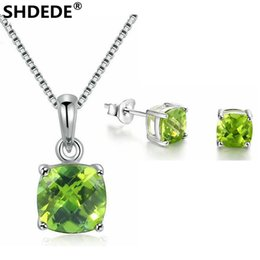 f972785bb9da SHDEDE 925 pure silver jewelry set of natural square olivine White Gold  Pendant Necklace Earrings Engagement Jewelry