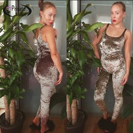 fitted jumpsuits Australia - NATTEMAID Women Gray velvet Jumpsuits Rompers sexy velour Tracksuit sleeveless Fitted Sexy Bodycon Purple Long Jumpsuit