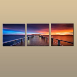 oil painting beach framed NZ - Framed Unframed Hot Modern Contemporary Canvas Wall Art Print Painting Sunset Glow Seascape Beach Dock Picture 3 piece Living Room Home Deco