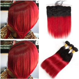Red Human Hair Bundles Lace Frontal Australia - Dark Rooted Ombre Red Virgin Hair Bundles with Lace Frontal Closure 13x4 Straight #1B Blue Ombre Brazilian Human Hair Weaves with Frontals