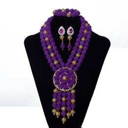 Indian Coral Beads Australia - 3 Row Wedding Bridal African Beads Jewelry Set Purple Imitation Pearl Women Costume Jewelry Party Accessories Nigerian Jewelry Set Free Shi