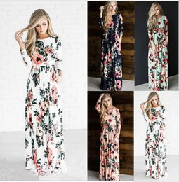 Discount floral maxi evening dresses - 2018 Summer Long Floral Print Boho Beach Dress Tunic Maxi Dress Women Evening Party Dress Sundress Vestidos
