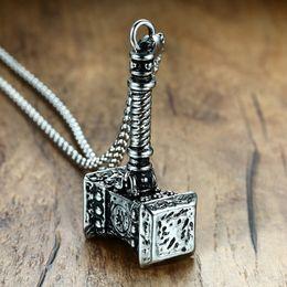 $enCountryForm.capitalKeyWord Australia - Mens Solid Viking Thors Hammer Pendant Necklace Stainless Steel Vintage Mjolnir Norse Jewelry