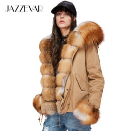 58e1e641b87a7 JAZZEVAR New Fashion Women s Luxurious Large Real Fox Fur Collar Cuff  Hooded Coat Short Parkas Outwear Winter Jacket S18101505
