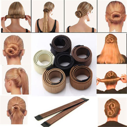 Wholesale 6 Colors French DIY Easy Bun Makers Hair Braiders Elastic Hair Band Donuts Bud Head Band Ball Sweet Magic Styling Tools