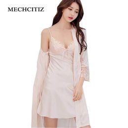 43102b8f49 MECHCITIZ 2018 summer women sexy lace silk robe   gown set sleep dress+ bathrobe two piece 4 color robe sleepwear nightdress