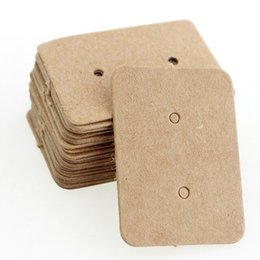 earring paper UK - 3.3X2.5CM Brown Kraft Paper Earring Card Ear Studs Display Tag Label Jewelry Display Card Kraft Rectangle Earring Tag Cards 100PCS LOT