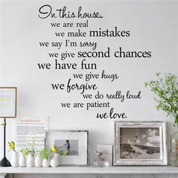 Family quote decals online shopping - In this house we are real Home Decal Family Vinyl Wall Sticker Quotes Lettering Words Living Room Backdrop Decorative Decor