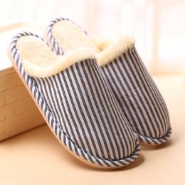 $enCountryForm.capitalKeyWord NZ - Women's Men's Indoor House Wood Floor Flax Cotton Slippers Winter Warm Anti-Slip Ladies Girls Home Hotel Furry Lined Stripe Lazy Shoes
