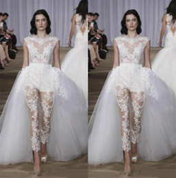 c6a129007f79 Vintage A Line Wedding Dresses With Overskirt Pants Modest Wedding Dress  Full Lace Illusion Country Bridal Gowns Jumpsuit robe de mariée