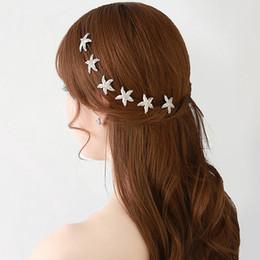 Discount starfish wedding hair - 2018 Best Selling Wedding Accessories Luxury Rhinestone Starfish Bridal Hair Sticks Shining Silver Women Hair Clips