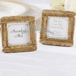 frames favors wholesale UK - Free shipment 30PCS Gold Resin Feather Mini Photo Frame Place Card Holder Wedding Favors Party Decor Event Gift Anniversary Supplies