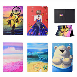 China Wallet Leather Australia - Beach Bear Wallet Leather For Samsung Tablet T280 T380 T820 T580 Case Cover Coque Holder Card PU Luxury Dreamcatcher Marble Girl Love Skin