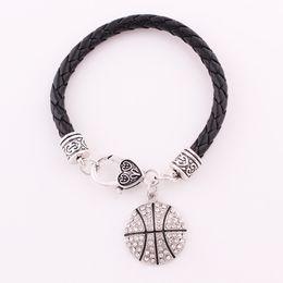 Rhinestone Sports NZ - Fashion Crystal Jewelry Pendant Bracelets Mix Sport Leather Chain Bracelets With Basketball  Volleyball  Football Floating Charm