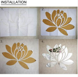 lotus flower room decor NZ - Creative Elegant Lotus 3D Decorative Acrylic Mirror Wall Stickers Flower Home Bedroom Decor Living Room Decoration Poster R063