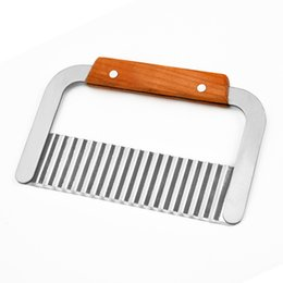$enCountryForm.capitalKeyWord Australia - Easy To Use Hardwood Handle Stainless Steel Potato Slicer, Multi-functional Metal Potato Wavy Cutter Wavy Slicer