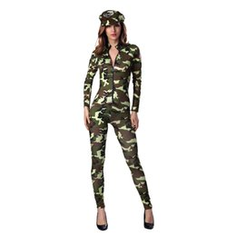 women warriors costumes UK - Vocole Sexy Women Warrior Soldier Costume Female Army Officer Camouflage Bodycon Jumpsuit