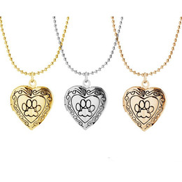Gold photo locket pendant online shopping - Photo Frame Memory Locket Pendant Necklace Silver Gold Color Romantic Love Heart Cute Paw Prints Jewelry Women Gift